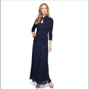 Jacquard Alex Evenings dress mandarin neck navy 10